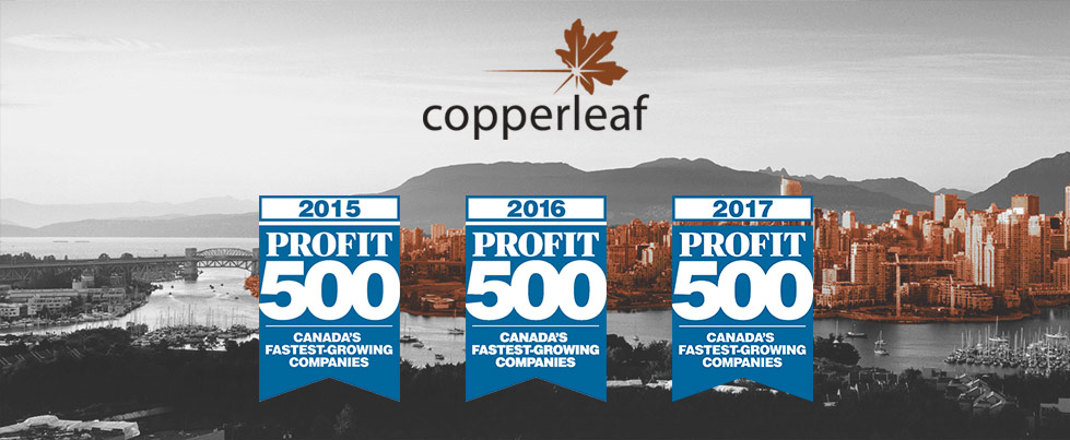 Image for Copperleaf Makes the 2017 PROFIT 500 List of Canada's Fastest-Growing Companies for Third Consecutive Year